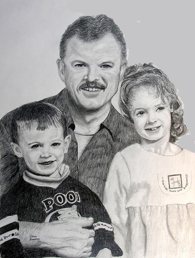 Portrait Drawing - John Megan And Joey by Stan Hamilton