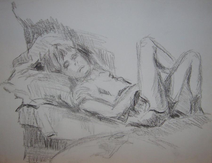 John Sleeping Drawing by Joseph Sandora Jr