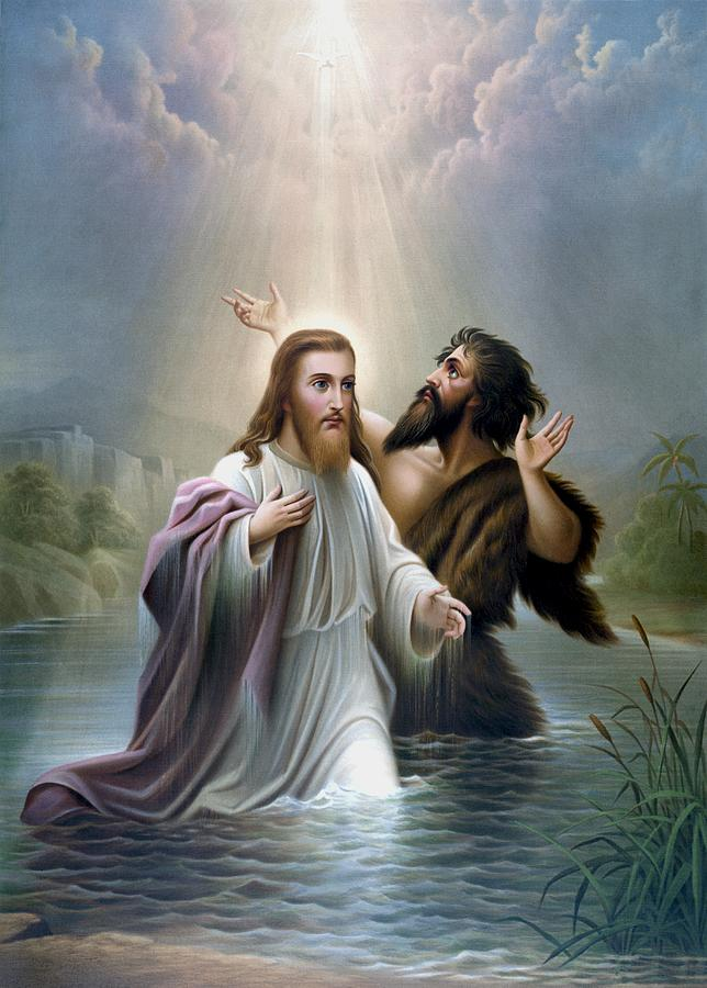 Jesus Painting - John The Baptist Baptizes Jesus Christ by War Is Hell Store