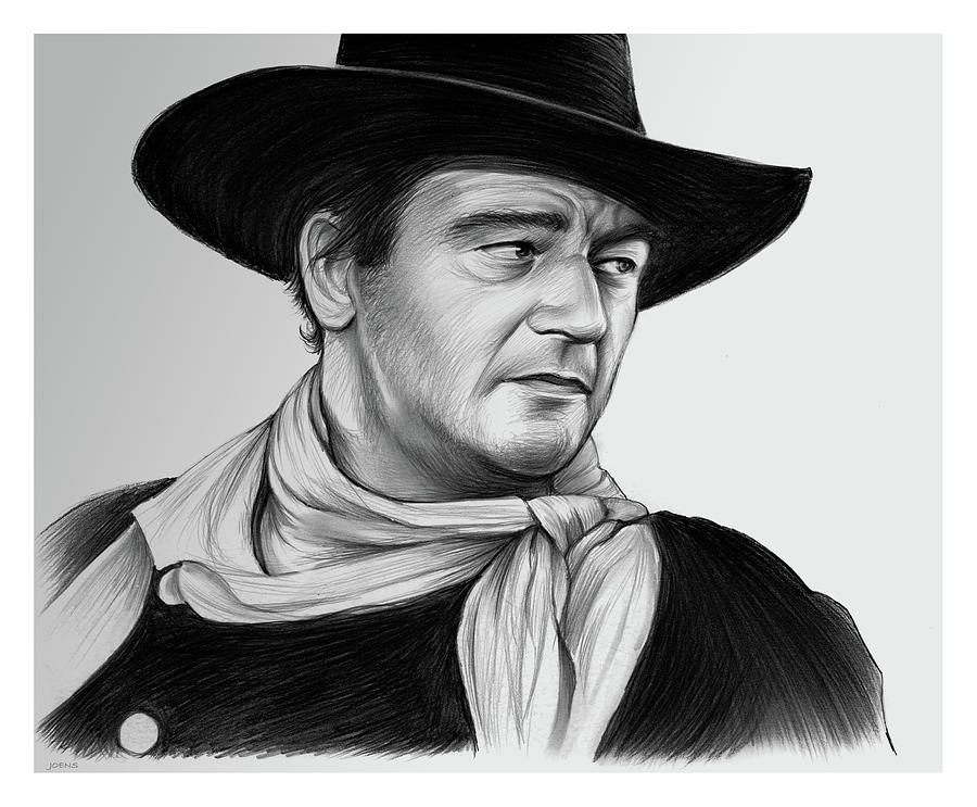 John Wayne Drawing - John Wayne 29JUL17 by Greg Joens
