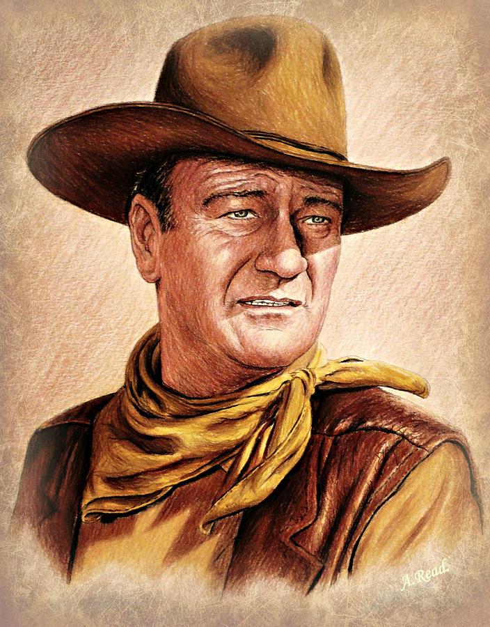 John Wayne Drawing - John Wayne colour version by Andrew Read