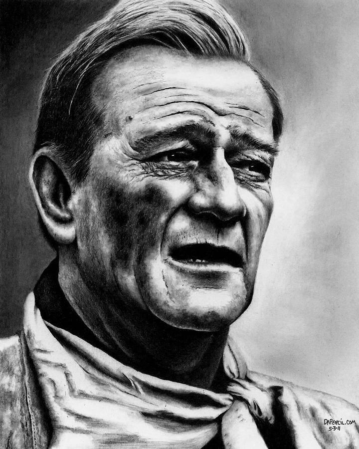 John Wayne Drawing - John Wayne  by Rick Fortson