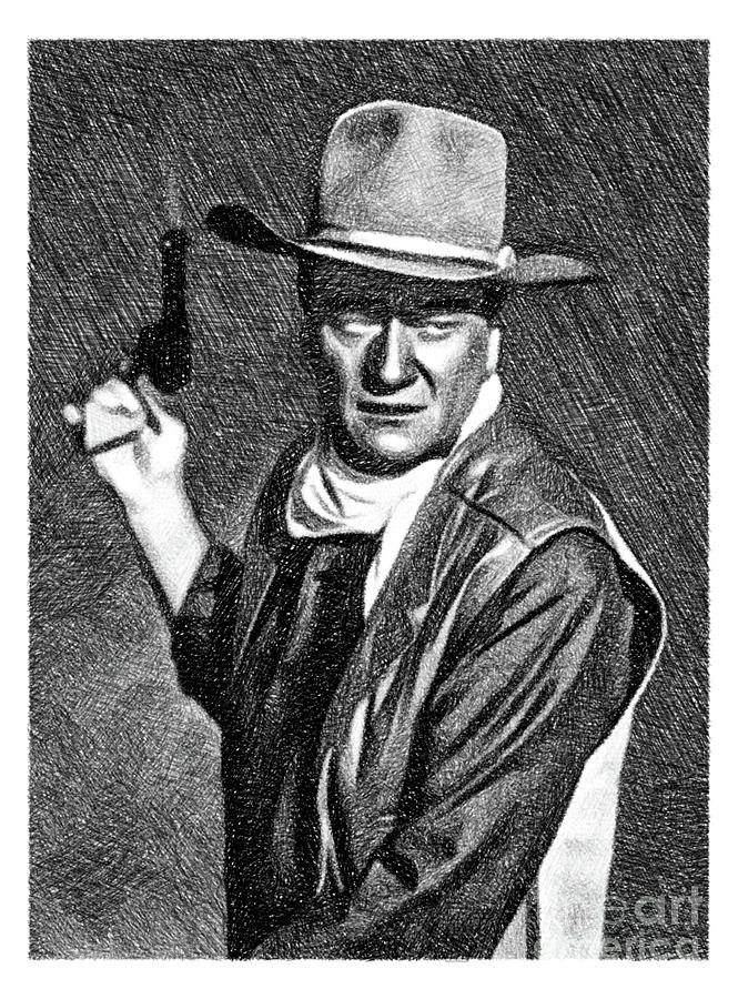 John Wayne, Vintage Actor By Js Drawing