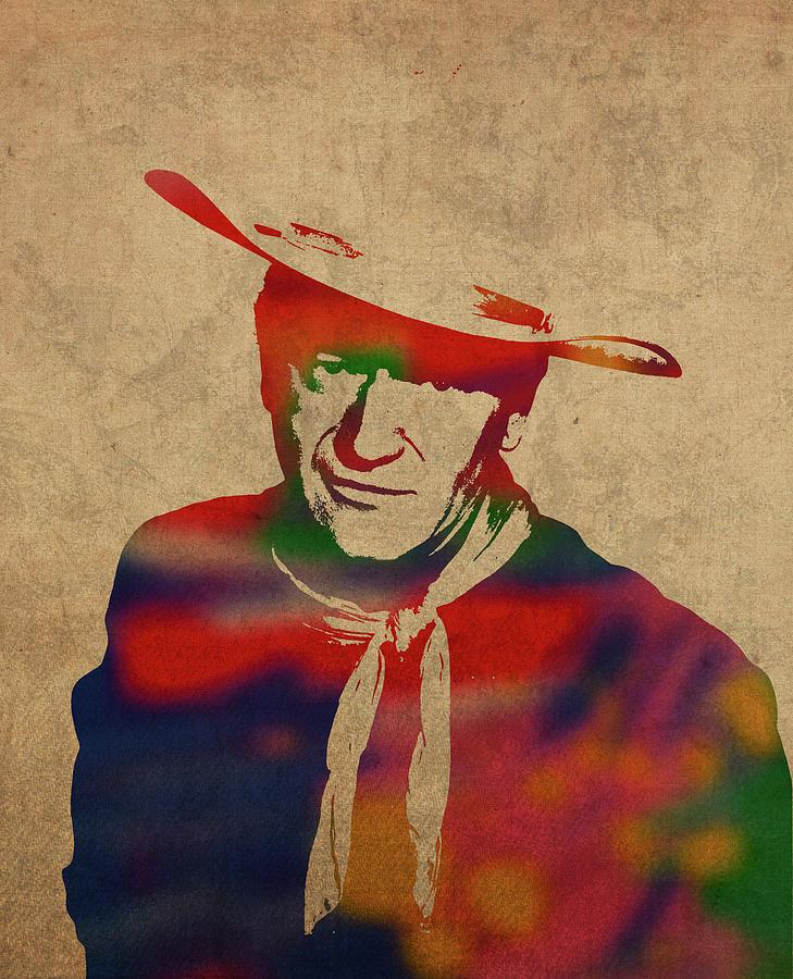 John Wayne Mixed Media - John Wayne Watercolor Portrait by Design Turnpike