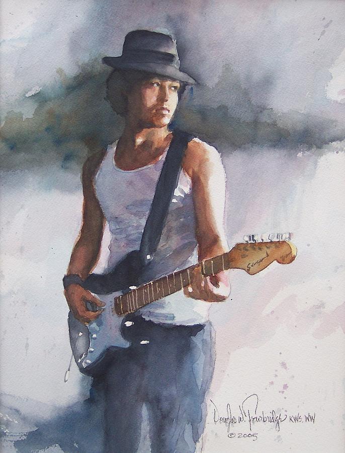 Guitar Painting - Johnny B. Goode by Douglas Trowbridge