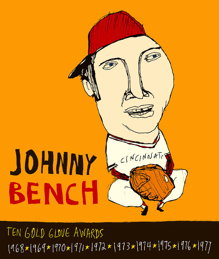 Johnny Bench  Painting - Johnny Bench Cincinnati Reds by Jay Perkins