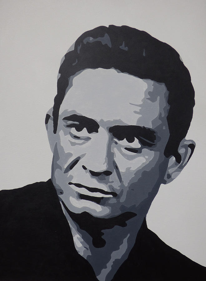 johnny cash black and white music art pop art painting by nick randolph