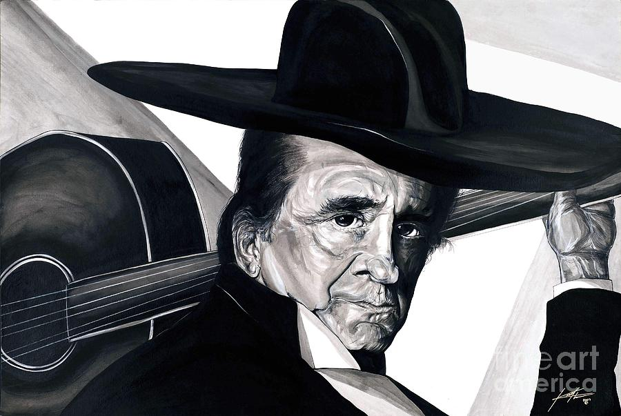 Portrait Painting - Johnny Cash by Keith  Thurman