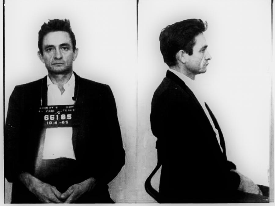 Johnny Cash Painting - Johnny Cash Mug Shot Horizontal by Tony Rubino
