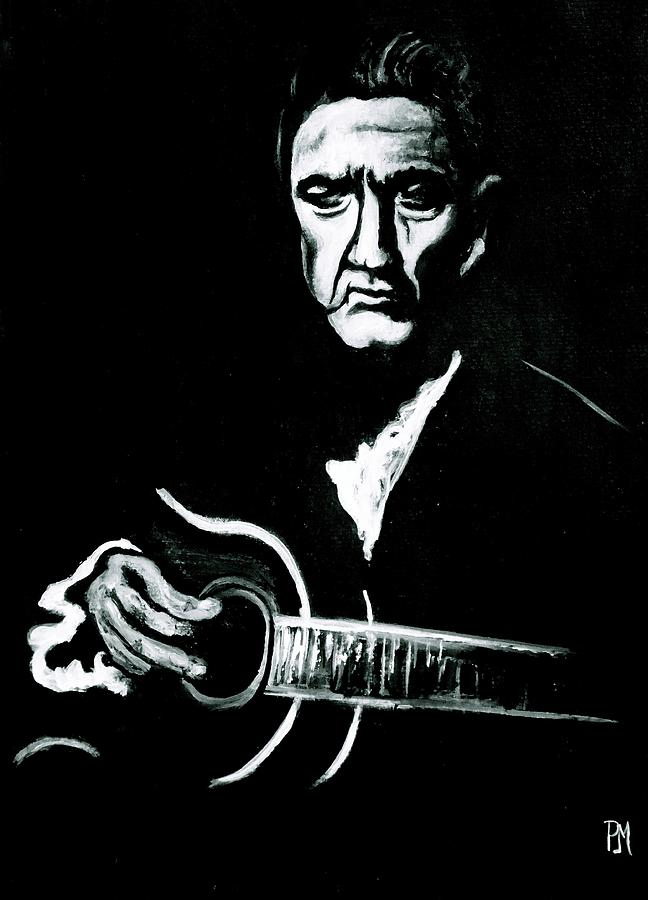 Johnny Cash Painting - Johnny Cash Vi by Pete Maier