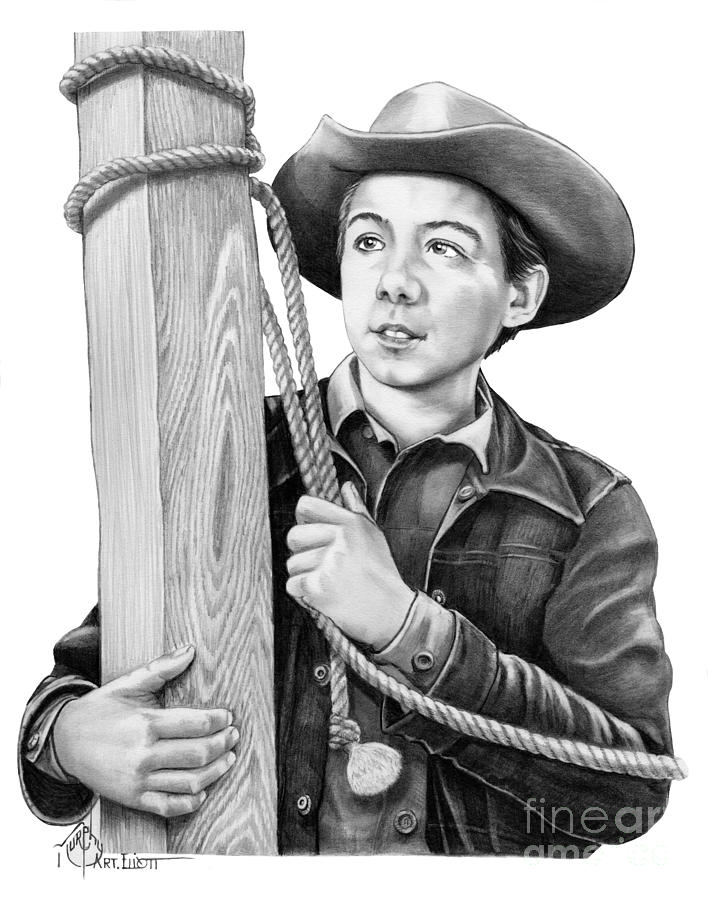 Pencil Drawing - Johnny Crawford-mark Mccain by Murphy Elliott