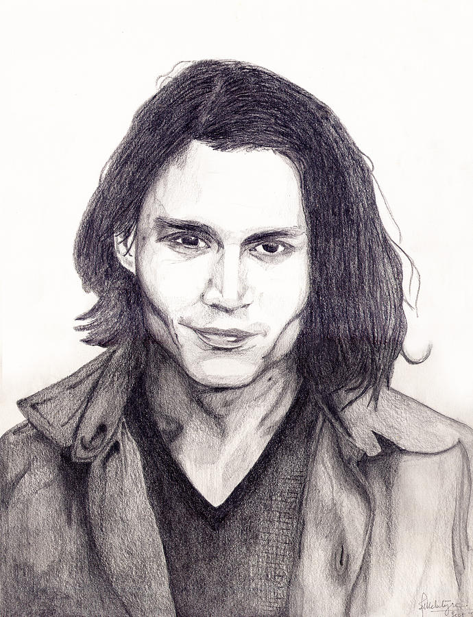 Actor Drawing - Johnny Depp by Debbie McIntyre