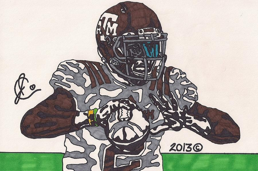 American Football Drawing - Johnny Manziel 12 by Jeremiah Colley