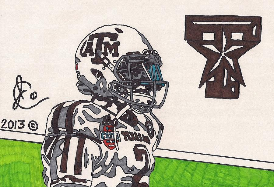 American Football Drawing - Johnny Manziel 13 by Jeremiah Colley