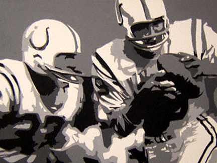 Football Painting - Johnny Unitas by Michael James  Toomy