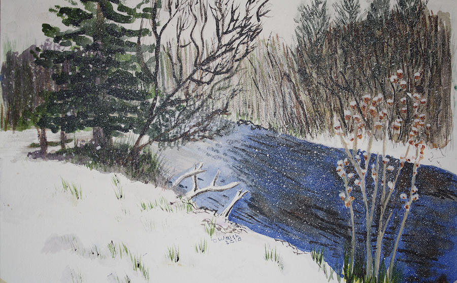 Landscapes Painting - Johnson Vermont In Spring Snow Storm by Donna Walsh