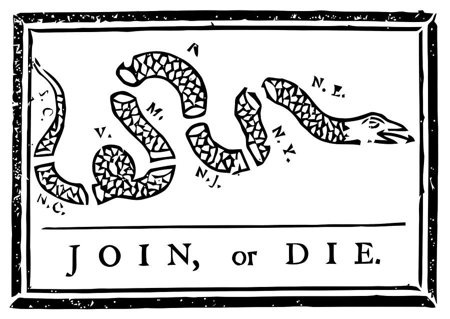 Join Or Die Mixed Media - Join or Die by War Is Hell Store