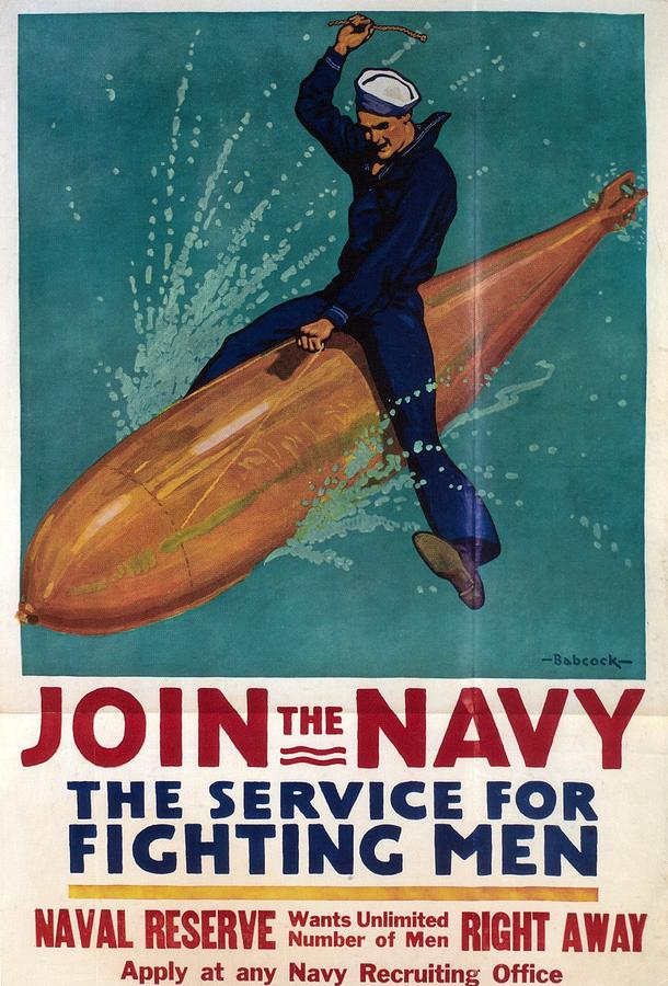 Join The Navy - Vintage Poster Of A Naval Officer Riding A Torpedo Painting