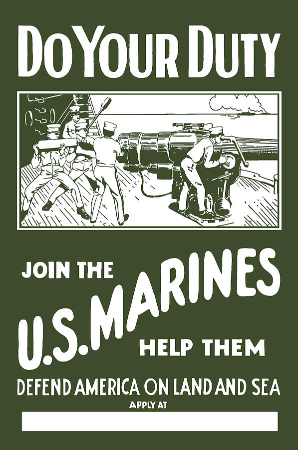 Marine Painting - Join The US Marines by War Is Hell Store