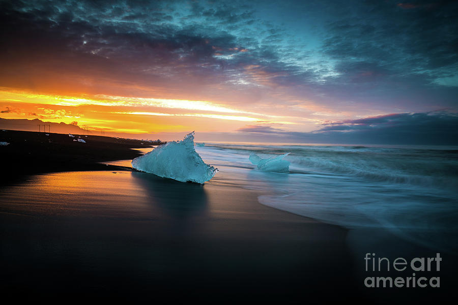 Iceland Photograph - Jokulsarlon Blue Ice Sunrise Serenity by Mike Reid