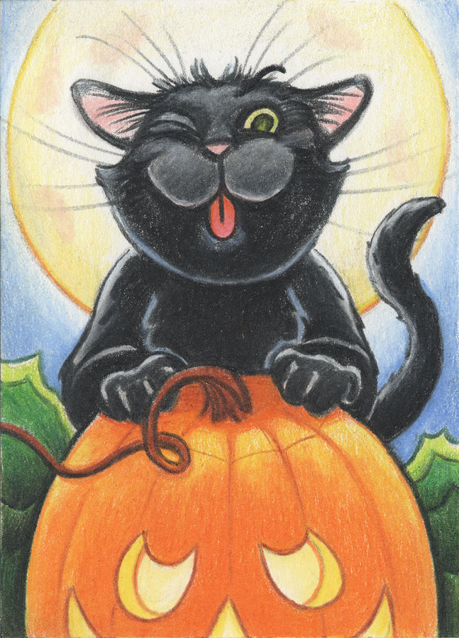 Atc Drawing - Jolly Ollie Halloween by Amy S Turner