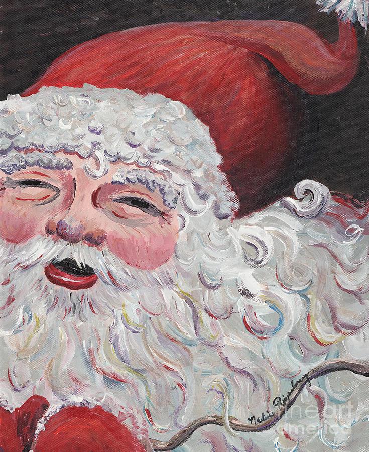 Santa Painting - Jolly Santa by Nadine Rippelmeyer