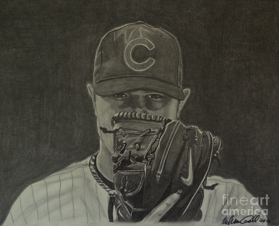 Jon Lester Portrait by Melissa Jacobsen
