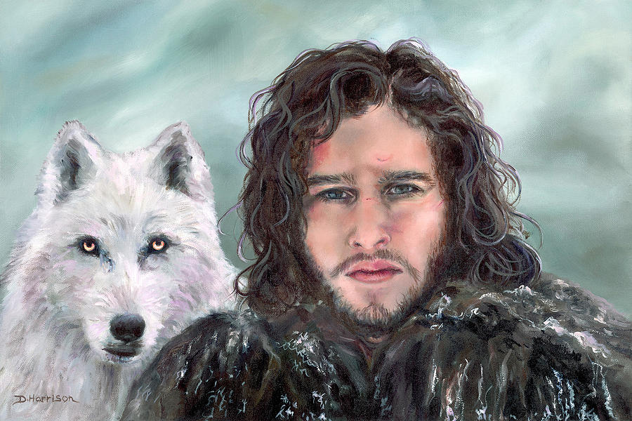 Got Painting - Jon Snow And Ghost by Denise H Cooperman