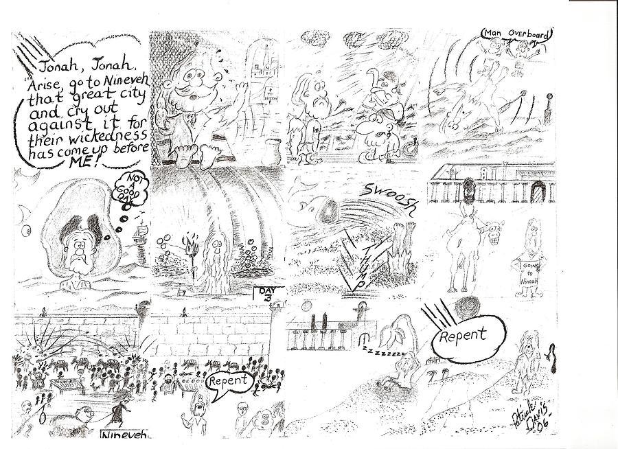 Cartoon Drawings Drawing - Jonah And The Great Fish by Patrick Davis
