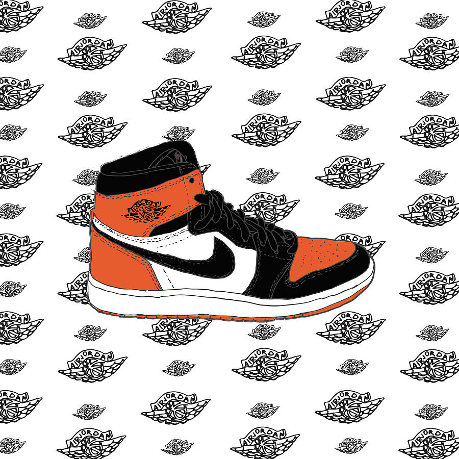 cf01c2bf6c4 Jordan 1 Shattered Backboard Digital Art by Letmedraw Yourpicture