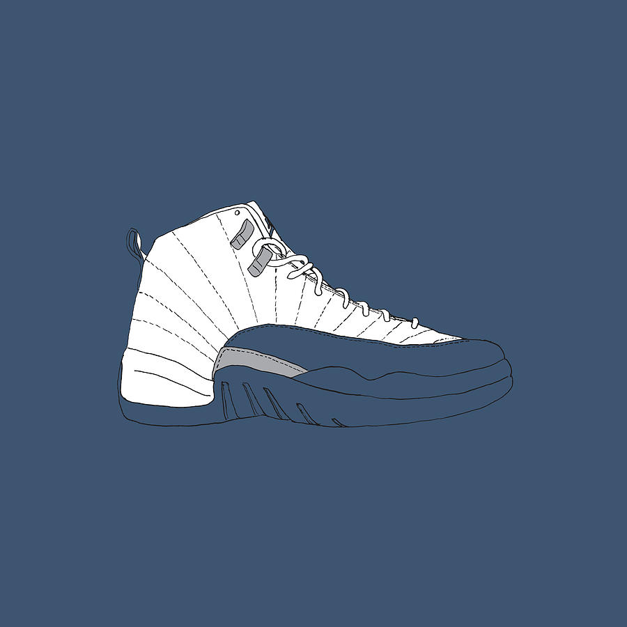 b477f0fb33c Jordan 12 French Blue Digital Art by Letmedraw Yourpicture