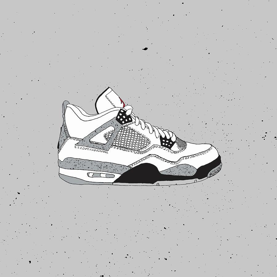 8b03f4060940 Jordan 4 White Cement Digital Art by Letmedraw Yourpicture