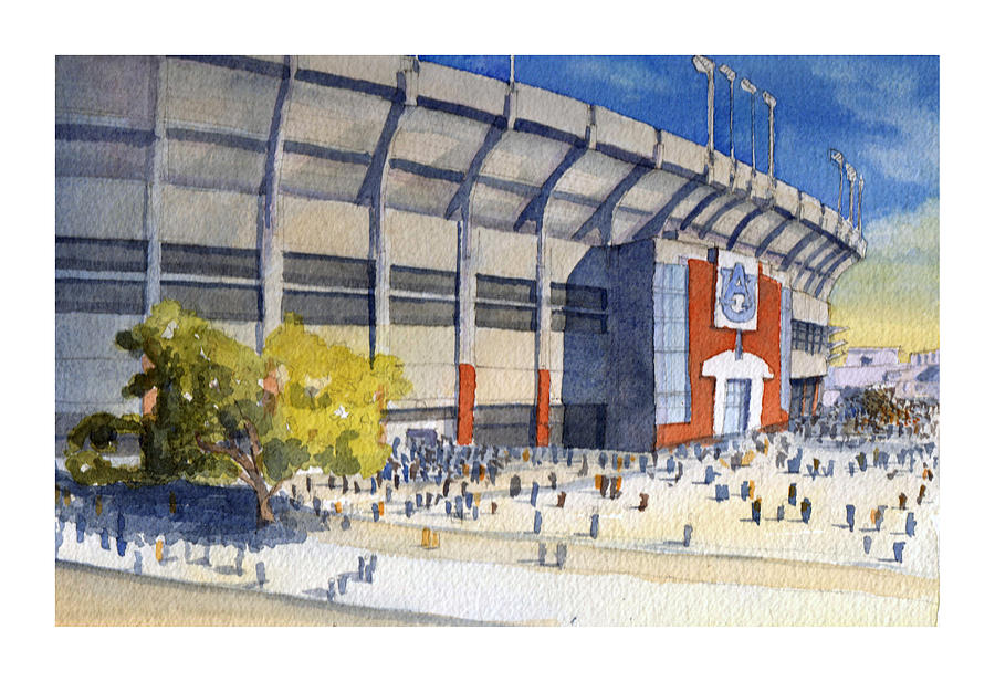 Auburn Painting - Jordan-hare Stadium by Bill Whittaker