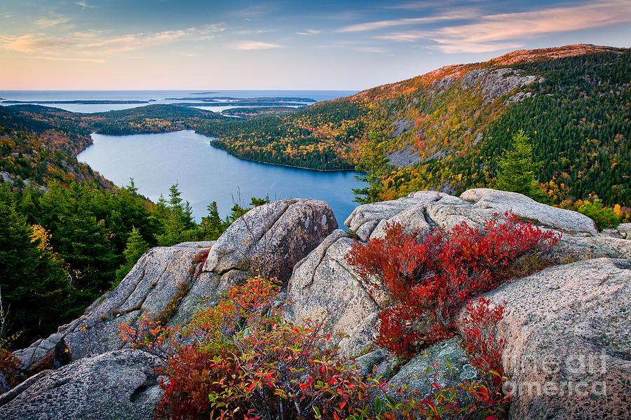 Acadia National Park Photograph - Jordan Pond Sunrise  by Susan Cole Kelly
