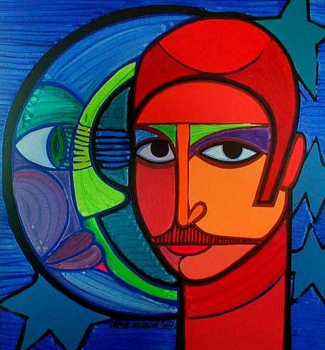 Moon Painting - Jose Miguel The Son Of The Artist And His Cosmic Relationships by Jose Miguel Perez Hernandez