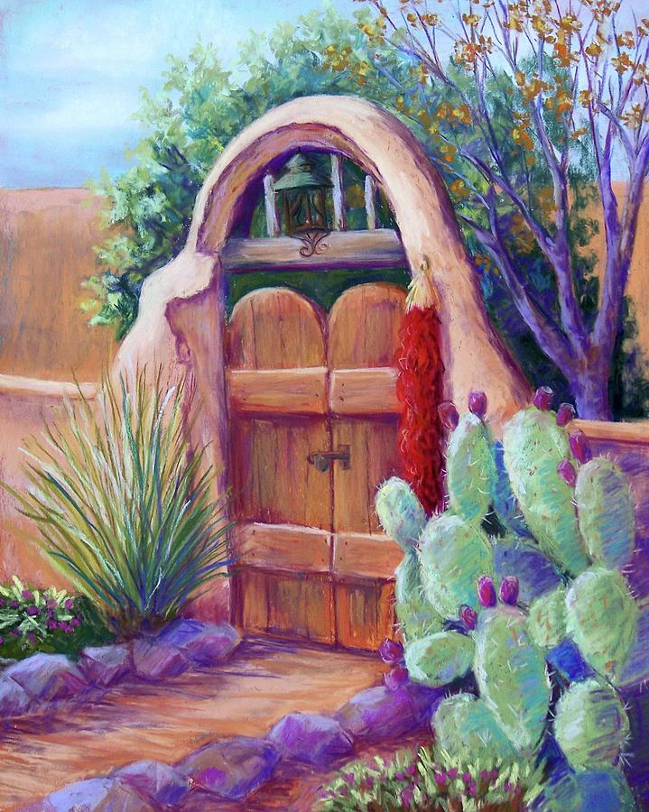 New Mexico Landscapes Pastel - Josefinas Gate by Candy Mayer