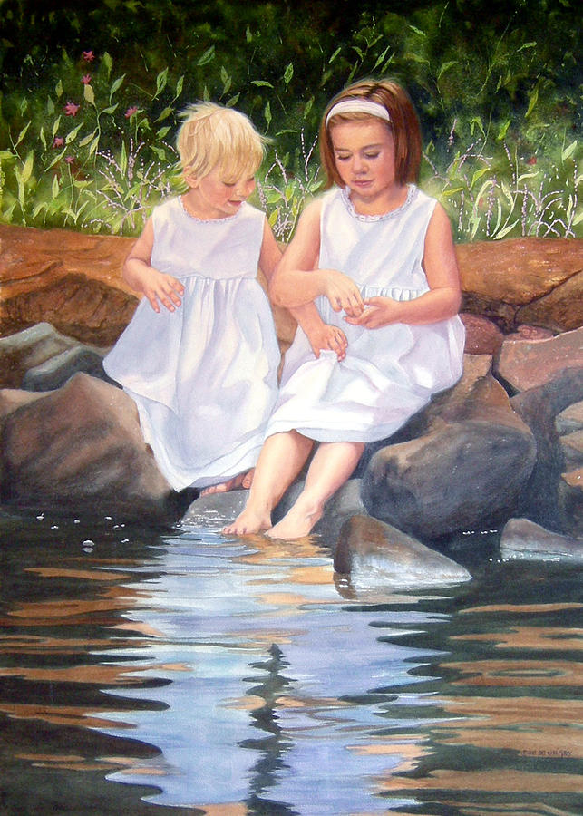 Portrait Painting - Josephine And Sarah by Pat Aube Gray