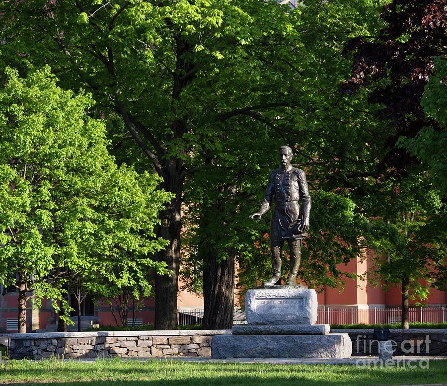 Bowdoin College Photograph - Joshua Lawrence Chamberlain Statue, Brunswick, Maine #0013 by John Bald