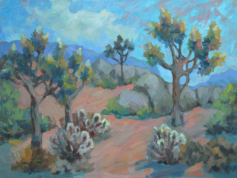 Desert Painting - Joshua Trees And Cholla Cactus by Diane McClary