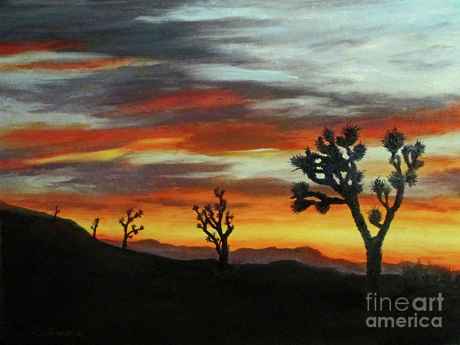 Joshua Trees at Sunset by Roseann Gilmore