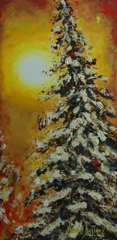 Winter Trees Painting - Jour D Or by Dyane Dastous