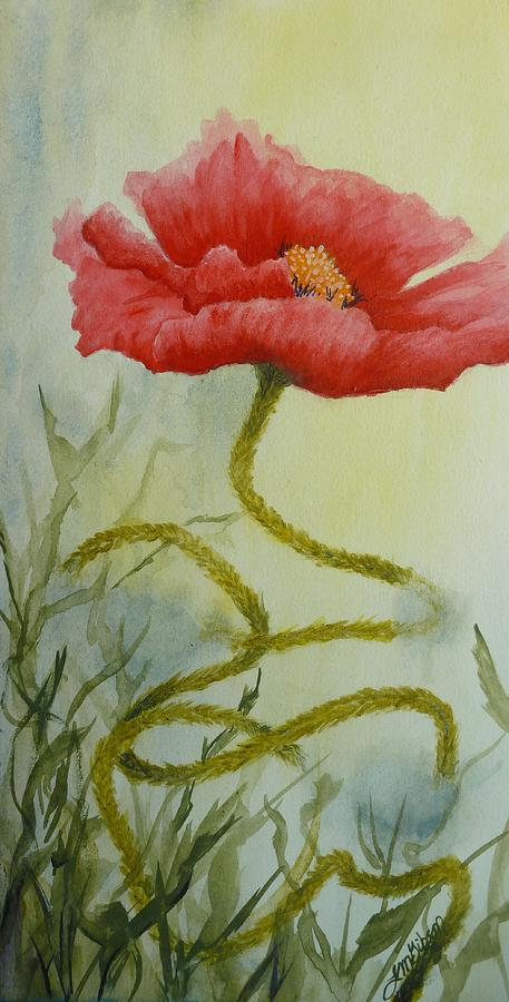 Red Poppy Painting - Journey by Lisa Gibson