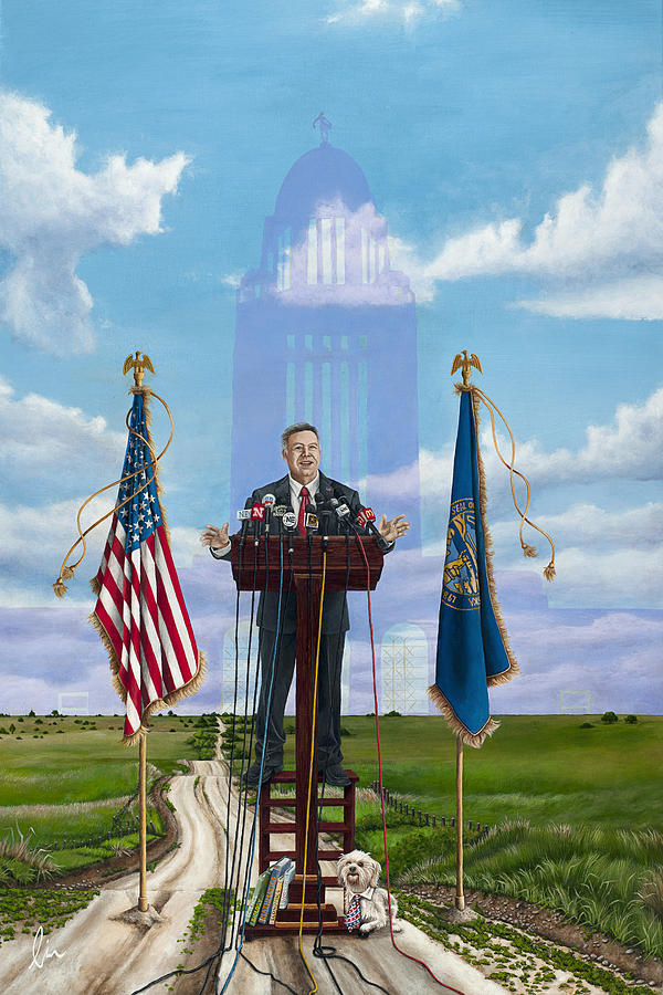 Nebraska Painting - Journey Of A Governor Dave Heineman by Cindy D Chinn