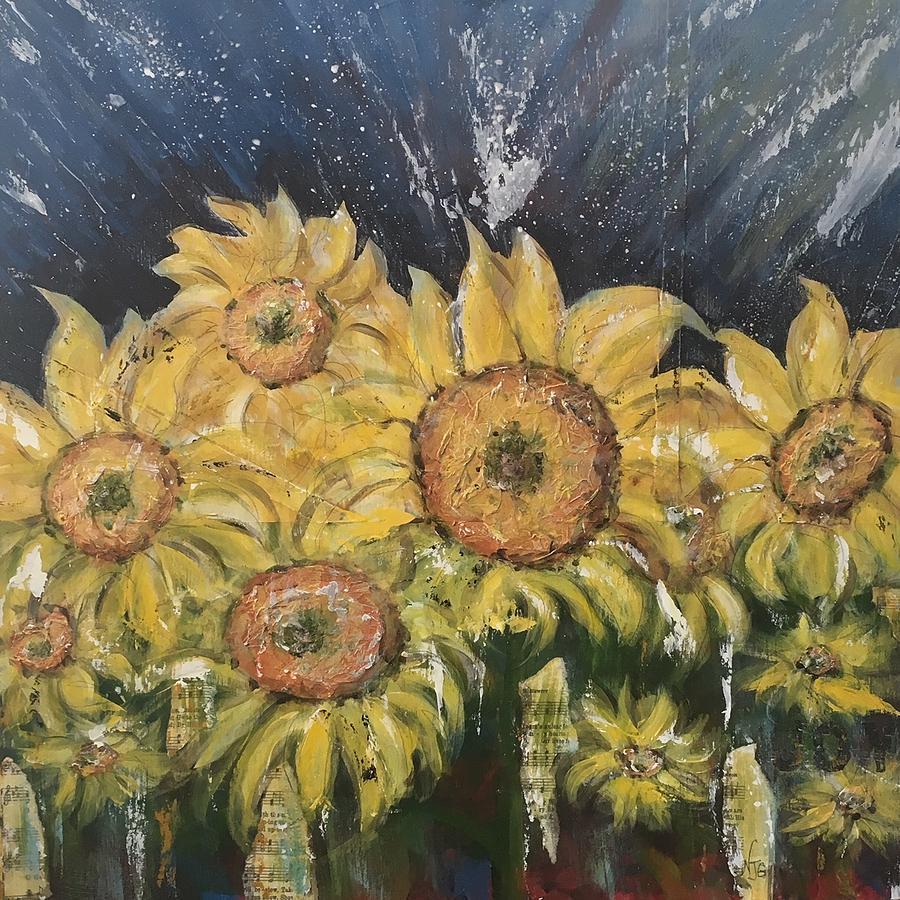 Sunflowers Mixed Media - Joy by Nancy Gunther