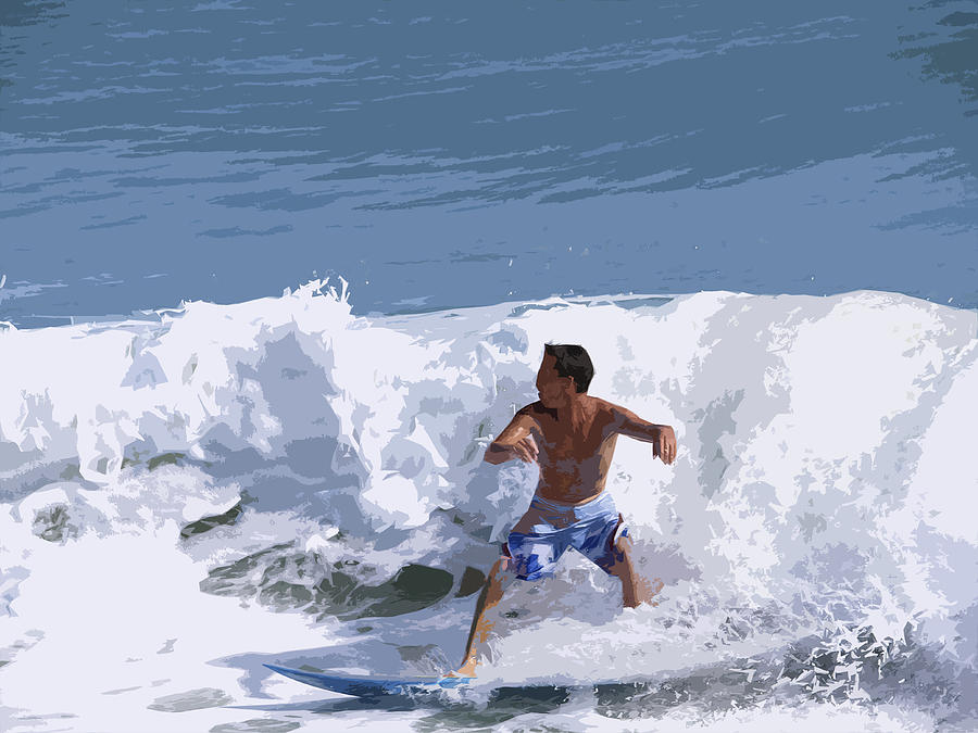 Surf Painting - Joy Of Surfing - Two by Allan  Hughes