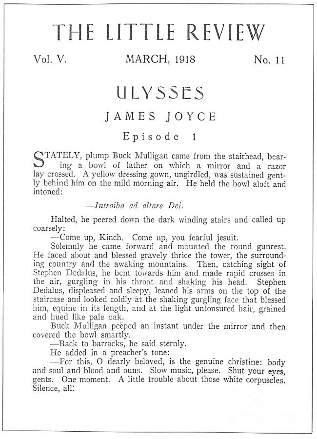 1918 Drawing - Ulysses, 1918 by James Joyce