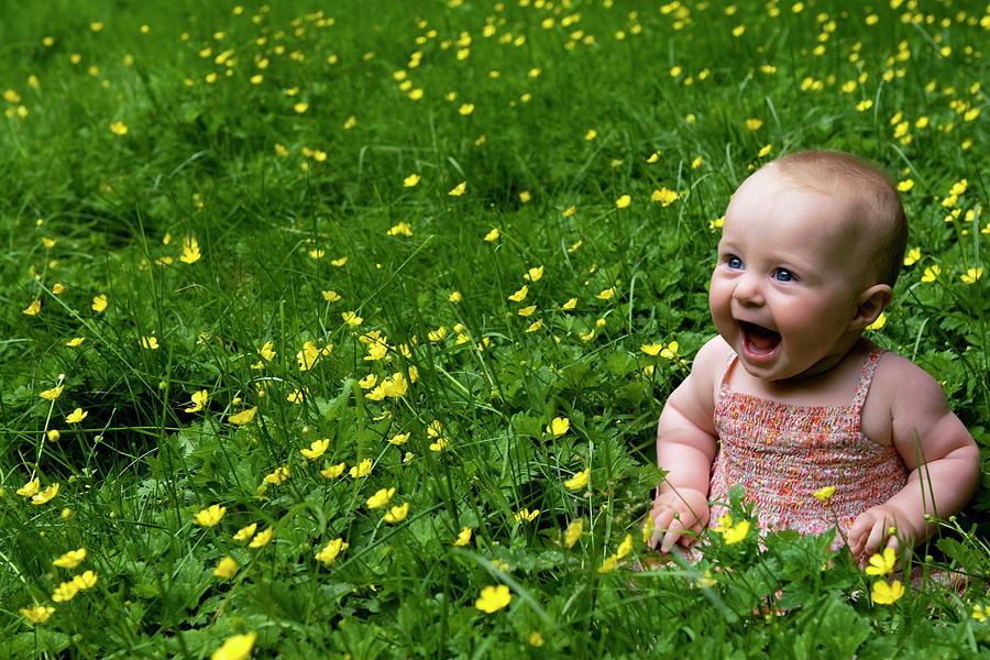 Joyful Baby In Flowers Photograph By Lorraine Devon Wilke