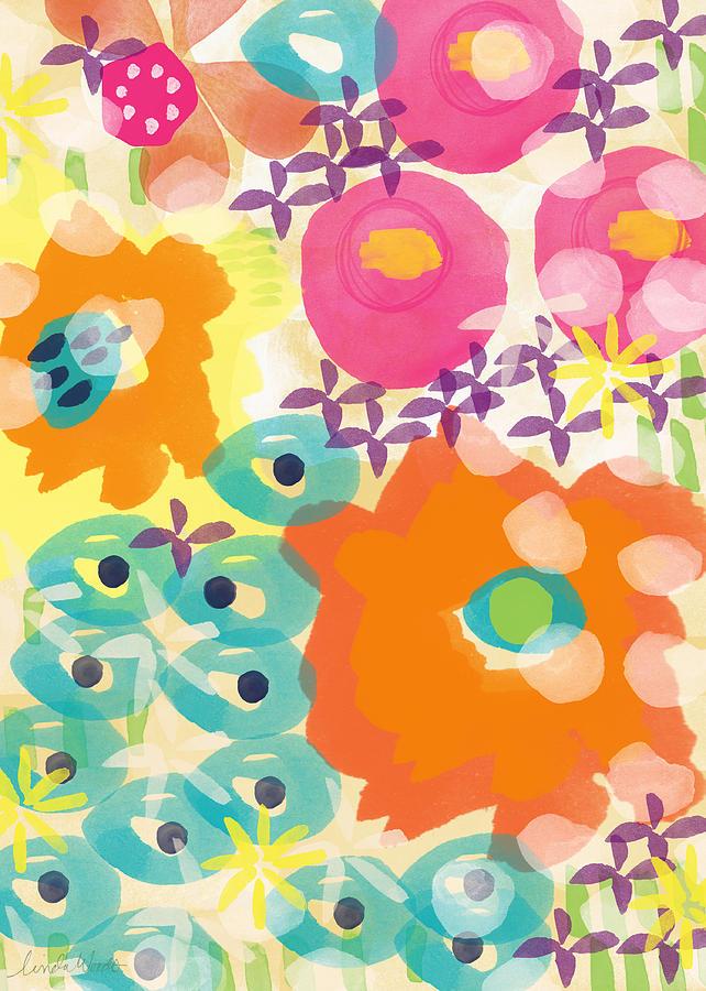 Flowers Painting - Joyful Garden by Linda Woods