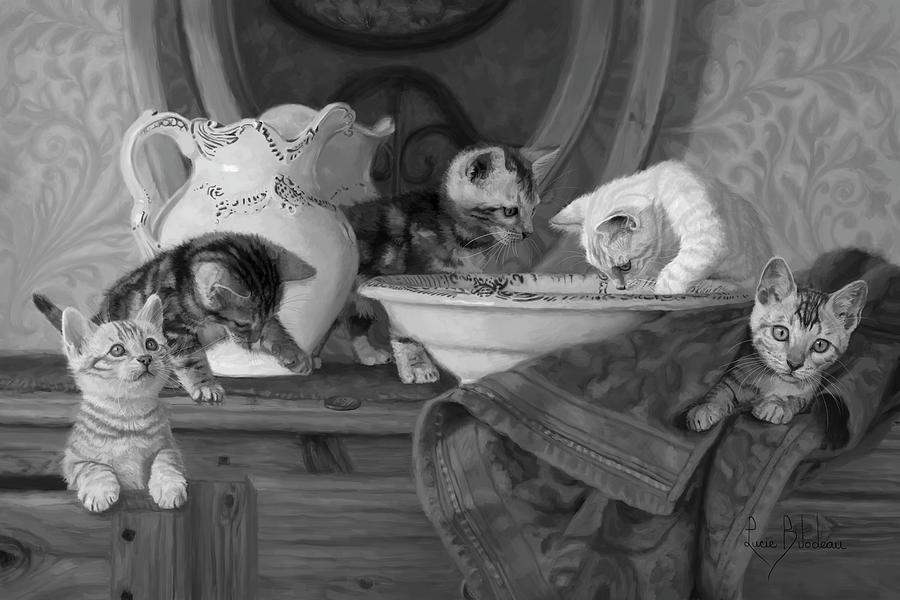 Cat Painting - Joyful Morning - Black And White by Lucie Bilodeau