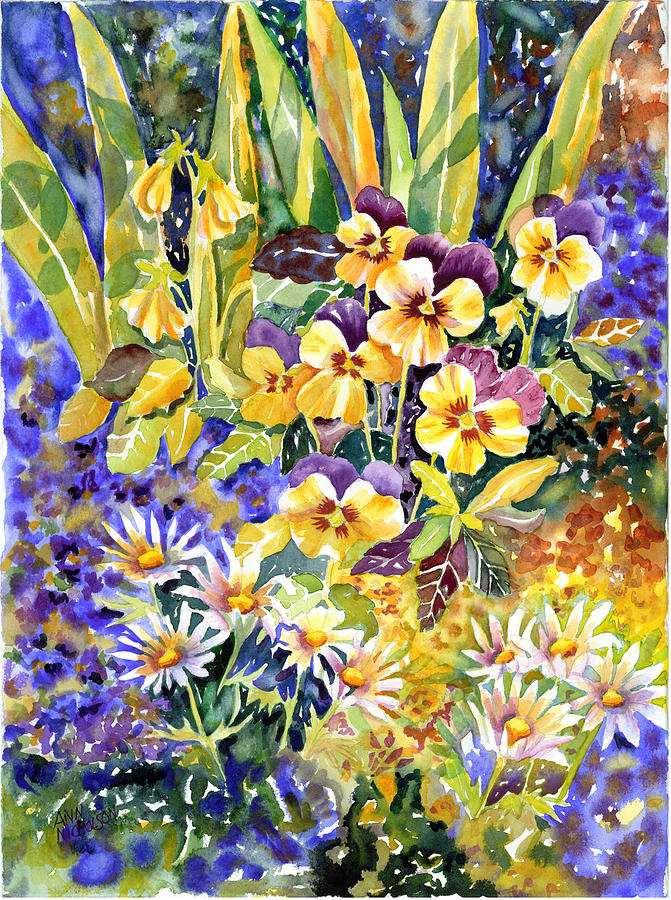 Bright Flowers Painting - Joyful Noise by Ann  Nicholson